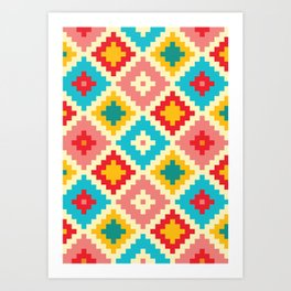 Candy Colored Tile Pattern Art Print