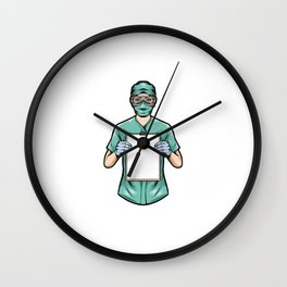 Medical Nurse Holding Clipboard Wall Clock