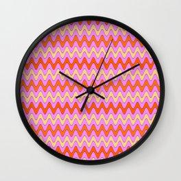 Pink Zig Zags Wall Clock