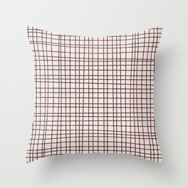 Back to Schoo l- Simple Grid Pattern- Black & Pink - Mix & Match with Simplicity of Life Throw Pillow