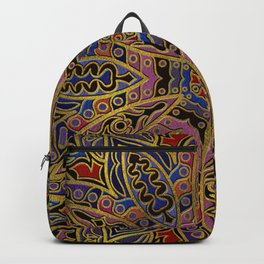 Mandala Gold Embossed on Faux Leather Backpack