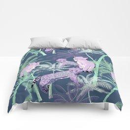Mauve blue aqua lavender tropical palm tree cheetah Comforters
