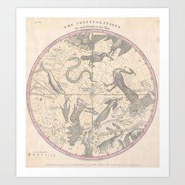 Burritt - Huntington Map of the Stars: The Southern Hemisphere Art Print