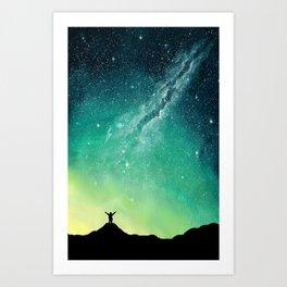 Green Night Sky Art Print