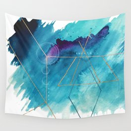 Galaxy Series [1]: an abstract mixed media piece in blue, purple, white, and gold Wall Tapestry