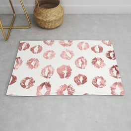 Girly Fashion Lips Rose Gold Lipstick Pattern Rug