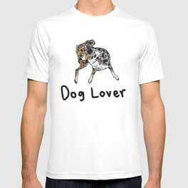 Dog Lover (Spotted Australian Shepherd) with words T-shirt