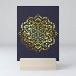 Flower of life Gold Mandala Mini Art Print