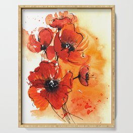 Red Poppy Flowers Watercolor Painting Serving Tray