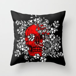 Skull Red with flowers Throw Pillow