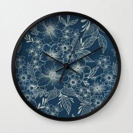 indigo bloom // repeat pattern Wall Clock