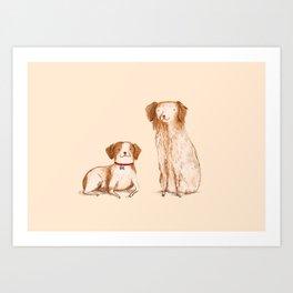 Brittany Spaniels Art Print