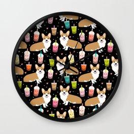 corgi boba tea bubble tea cute kawaii dog breed fabric welsh corgis dog gifts Wall Clock