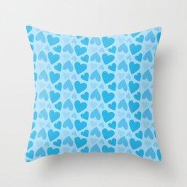 Blue Hearts Pattern Throw Pillow