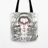 geisha Tote Bags featuring Geisha by Demones
