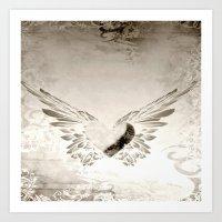 angel wings Art Prints featuring angel wings by Mariedesignz