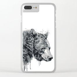 Bear Head Black and White Clear iPhone Case