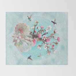 FLORAL HUMMINGBIRD Throw Blanket