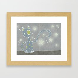 Gris the Starry Cat Framed Art Print