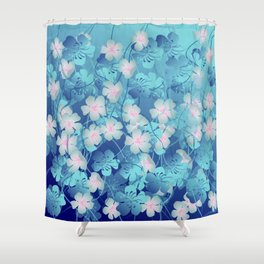 Blue Flowers Fantasy Shower Curtain