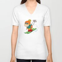 skiing V-neck T-shirts featuring Winter Sports: Skiing by Alapapaju