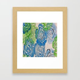 Bue and Green Roses Framed Art Print