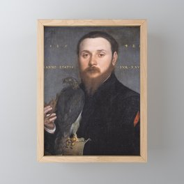 Hans Holbein the Younger - Portrait of a falconer Framed Mini Art Print