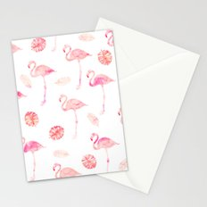 Trendy modern tropical pink watercolor flamingo tropical leaf pattern Stationery Cards