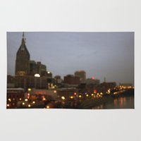 nashville Area & Throw Rugs featuring Nashville Lights by Long Mountain Prints