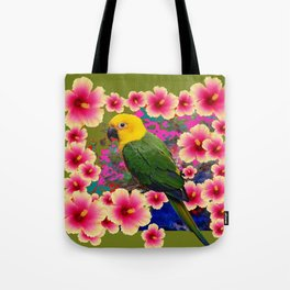 YELLOW HEADED GREEN PARROT PINK HIBISCUS KHAKI FLORAL Tote Bag