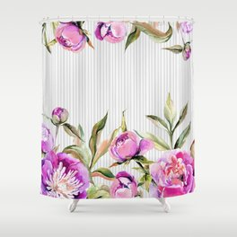 Elegant hand painted pink purple gray watercolor stripes floral Shower Curtain