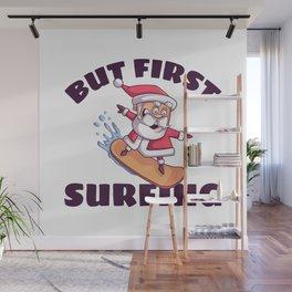 Surfing Santa Claus Wall Mural