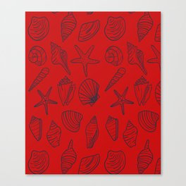Red and blue seashells pattern Canvas Print