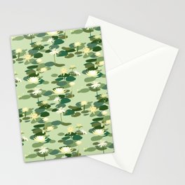 Waterlily pattern in Green Stationery Cards