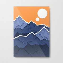 The mountains under the two suns Metal Print