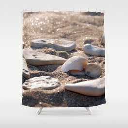 Shelves in the sand Shower Curtain