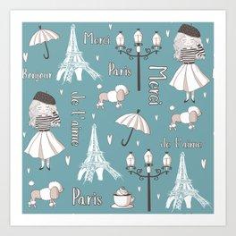 Paris Girl - Blue Art Print