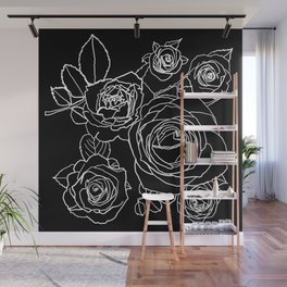 Feminine and Romantic Rose Pattern Line Work Illustration on Black Wall Mural
