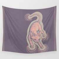 sphynx Wall Tapestries featuring pastel sphynx by nisimalotse