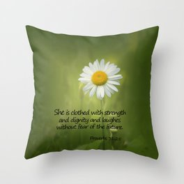 She is Clothed With Strength Throw Pillow