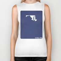 maryland Biker Tanks featuring Maryland Minimalist Vintage Map by Finlay McNevin