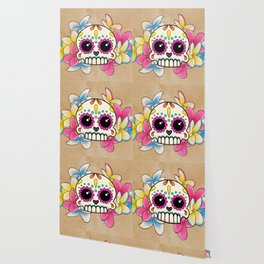 Calavera con Flores - Sugar Skull with Frangipani Flowers Wallpaper