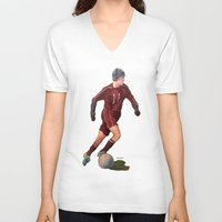 soccer V-neck T-shirts featuring Soccer by Karen Pettengill