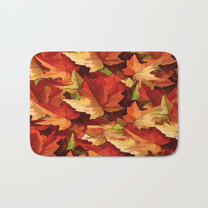 Autumn Leaves Abstract - Painterly Bath Mat