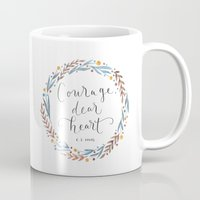 narnia Mugs featuring Courage Dear Heart by IndigoEleven