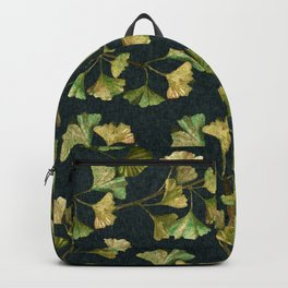 Gentle Autumn Leaves Sophisticated Linen Pattern Backpack