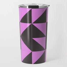 Pink Grey Geometric Square Pattern Travel Mug