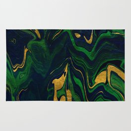 Rhapsody in Blue and Green and Gold Rug