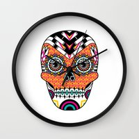 deco Wall Clocks featuring Deco Skull by Jorge Garza