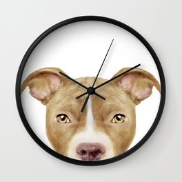 Pit Bull light Brown 2, Original painting by miart Wall Clock